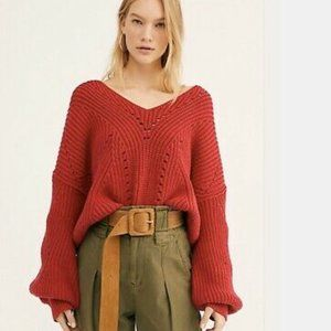 New free people sweater v neck slouchy pullover